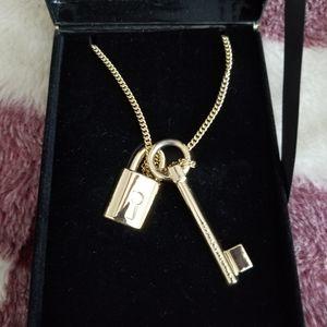 Victoria Secret Gold Lock & Key Necklace